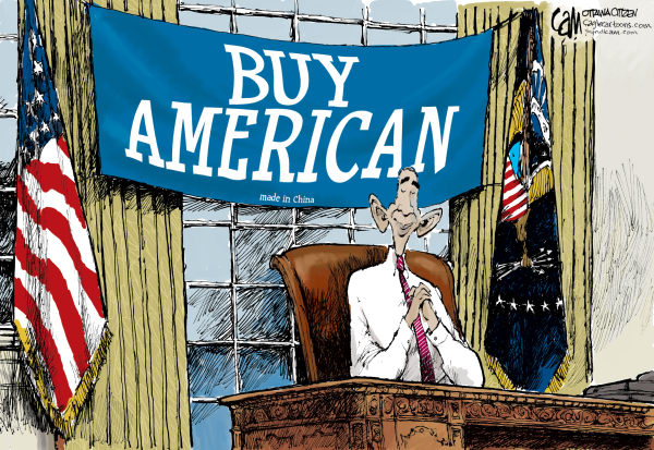 Buy American COLOR © Cardow,The Ottawa Citizen,USA, jobs, Obama, white, house, buy, American, bill, China