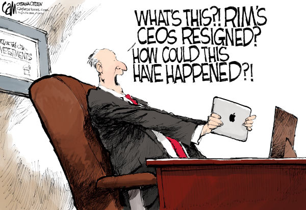RIM COLOR © Cardow,The Ottawa Citizen,RIM, research, in, motion, CEOs, shares, stock, investors, resignation, apple, ipad, playbook