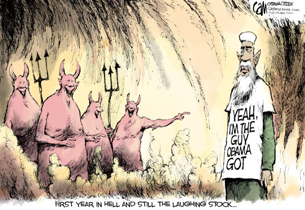 Cardow - The Ottawa Citizen - Laughing Stock COLOR - English - osama, bin, laden, anniversary, barack, obama, hell