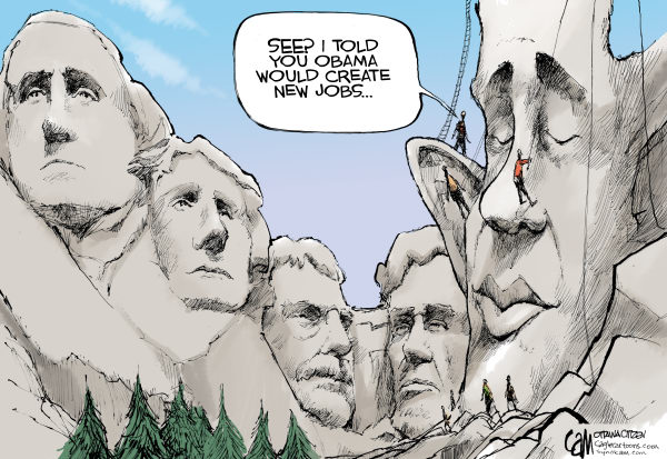 Cardow - The Ottawa Citizen - Mount Obama COLOR - English - obama, jobs, economy, employment, mount, rushmore