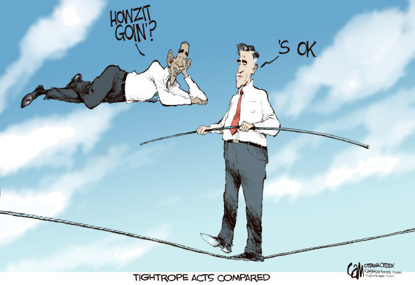 Cardow - The Ottawa Citizen - Tightropes COLOR - English - Barack, obama, Mitt, Romney, 2012, election, campaign