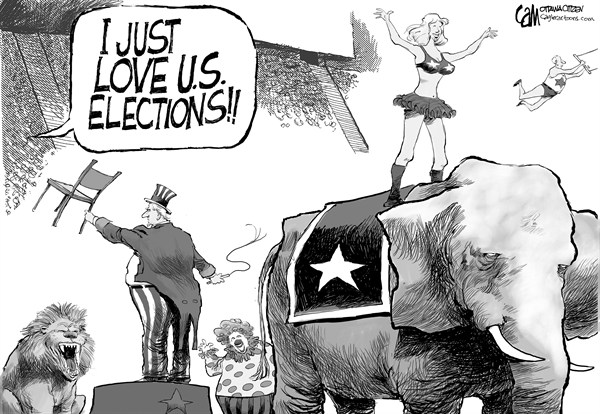 Cardow - The Ottawa Citizen - Circus - English - US, america, election, 2012, american