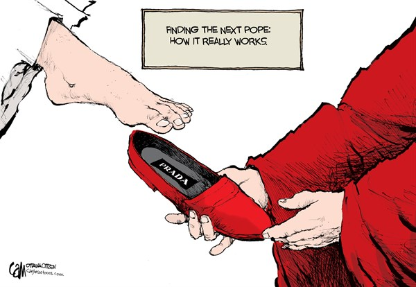 Cardow - The Ottawa Citizen - Pope Slippers COLOR - English - Pope, Catholic, church, red, shoes, papal, cardinals, conclave