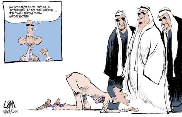 Prostrate © Cam Cardow,Cagle Cartoons,Obama, bows, Saudi, King, funeral, Arabia, Michelle, headdress