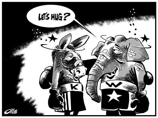 Olle Johansson - Sweden - Let's Hug - English - Democrats, Republicans, dems, democrat, republican, elephant, donkey, end, fight, boxing, boxers, match, heal, hug, campaign, campaigns, john kerry, kerry, george, w, bush, hugs