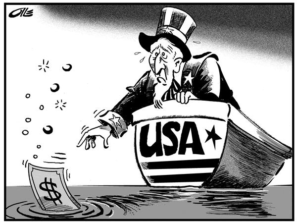 Olle Johansson - Sweden - The sinking dollar - English - US, Economy, Sinking, Dollar, dollars, currency, exchange rate, depreciation, value, depreciate, sinking, worth, uncle sam, money, trade