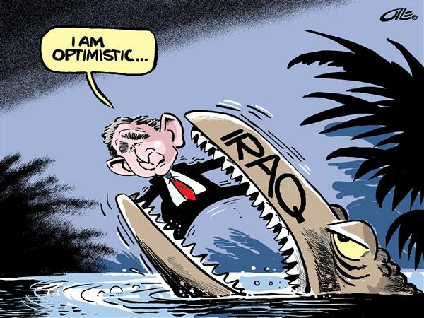 Olle Johansson - Sweden - over-optimistic ? -- color - English - Iraq, war, terror, terrorism, terrorist, violence, optimism, monster, quagmire, beast, george, w, bush, optimism, middle east, mid east, mideast