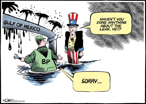 Olle Johansson - Sweden - Oil leak - English - Uncle Sam, Golf of Mexico, Oil, leak, BP, Slow, pipeline, drop, disaster, 