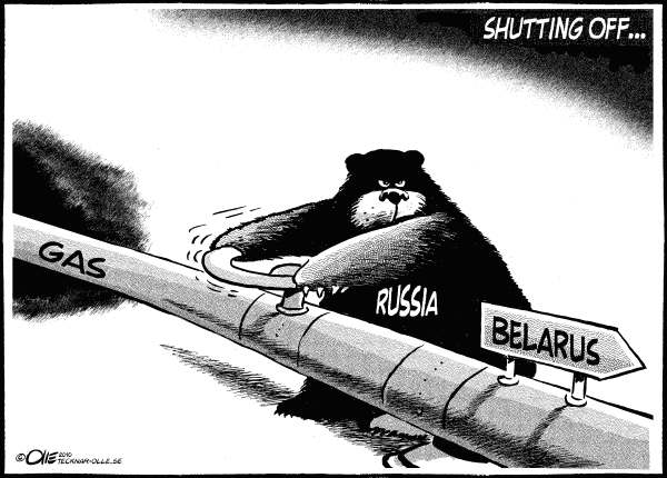 Olle Johansson - Sweden - Shutting Off -Line Art - English - Russia, Belarus, Gas, pipeline, Cut, Dmitry Medvedev, Russian, president,