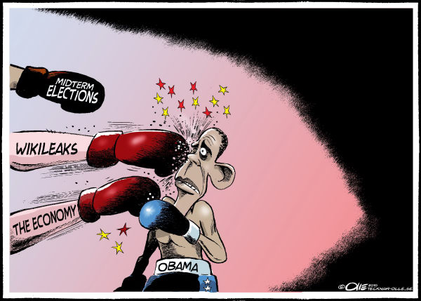 Olle Johansson - Sweden - Hard Punches- Color - English - Barack Obama, USA, Economy, Boxing, Midterm, Wikileaks, Hit, hard, Punches, The Ring, President, Blame,