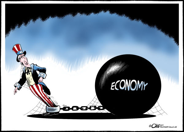 Olle Johansson - Sweden - Stuck - English - the Business, Cycle, Economy, Uncle Sam, USA, stuck, Recession, ball and chain