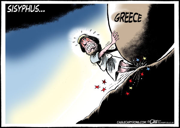 Olle Johansson - Sweden - Sisyphus - English - 		Sisyphus, Greece, recession, EU, IMF, borrow money, economy, Crisis, financial, Europe, Stone, Trouble, Greece,,