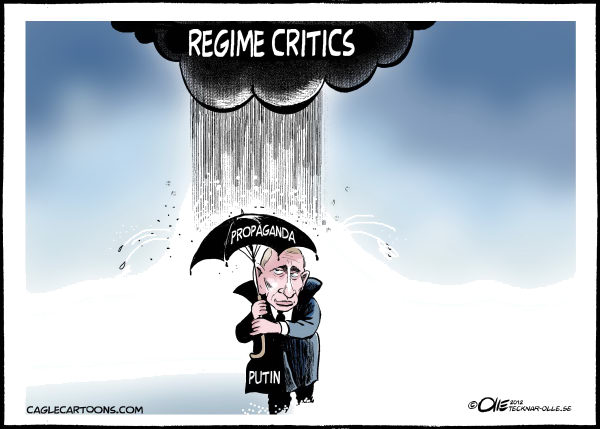 Olle Johansson - Sweden - Bad weather - English - Russia, Vladimir, Putin, Critics, Cloud, Rain, Umbrella, Propaganda, Parties, Rule, Regime