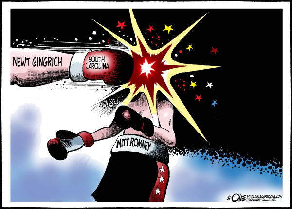 Olle Johansson - Sweden - Hit in the face - English - GOP, republican, presidential, election, candidate, 2012, Gingrich, Romney, South Carolina, Boxing, Hit, Face