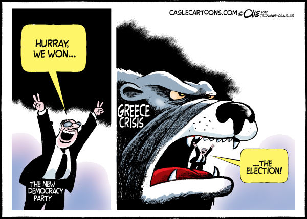 Greece´s election © Olle Johansson,Sweden,Greece, Election, Winner, New Democracy party, Beast, Mouth, Financial, Cricis,