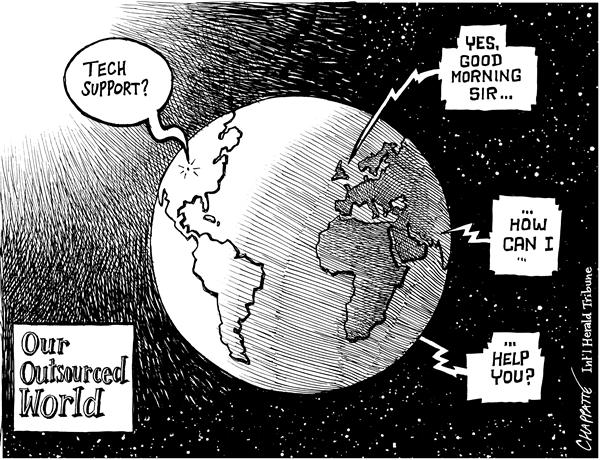 Patrick Chappatte - The International Herald Tribune - Outsourcing - English - economy, outsourcing, outsource, outsourced, globalization, world, telecom, global, foreign, jobs, layoff, layoffs, jobs, profession, professions, tech support