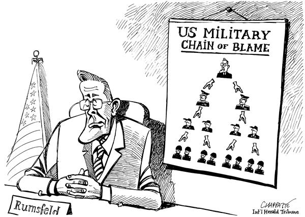 Patrick Chappatte - The International Herald Tribune - Report on Abu Ghraib - English - Iraq, prisoner, abuse, abu ghraib, rumsfeld, U.S. military, military, army, blame, blame game, prisoners, rummy, secretary of defense, officers, chain