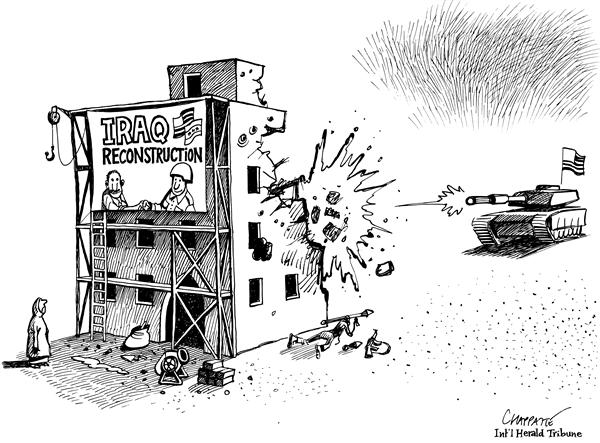 Patrick Chappatte - The International Herald Tribune - Occupation of Iraq - English - Iraq, reconstruction, insurgency, war, conflict, facade, insurgents, insurgent, military, tank, occupation, building, build