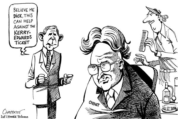 Patrick Chappatte - The International Herald Tribune - Bush-Cheney. the hair factor - English - Bush, Cheney, U.S. election, election, elections, campaign, campaigns, appearance, hair, hairdo, hairdos, 2004, kerry, edwards, appearances, haircut, barber