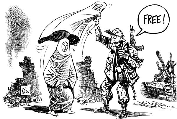 Patrick Chappatte - The International Herald Tribune - Afghan elections - English - Afghanistan, women, US, military, war, terror, democracy, freedom, free, burqa, burka, women, woman, afghani, election, elections