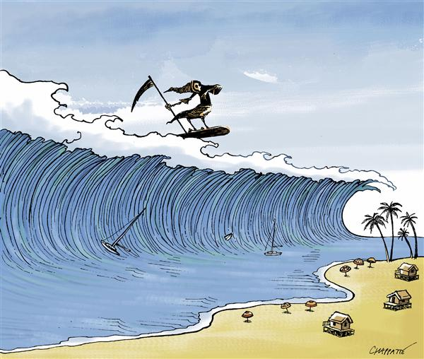 Patrick Chappatte - Le Temps, Switzerland - South Asias Tsunami - English - Tsunami, South Asia, natural, asia,  disaster, death, deaths, grim reaper, surf, surfing, tidal wave, thailand, indonesia, villages, village, destruction