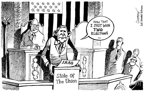 Patrick Chappatte - The International Herald Tribune - State Of The Union - English - George, W, Bush, State Of The Union, Iraq, speech, union, elections, iraqi, address, nation, democracy