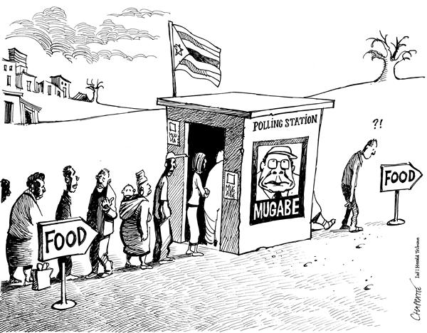 Patrick Chappatte - The International Herald Tribune - Elections in Zimbabwe - English - Mugabe, Zimbabwe, Hunger, Elections, Poverty, Food, bribe, election, ballot, vote, voting, voters, starve, starvation, candidate, africa, african