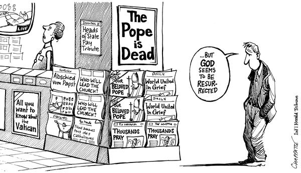 Patrick Chappatte - The International Herald Tribune - John Paul II in the media - English - John Paul II, John Paul, Pope, Religion, Catholic, Church, Death, Media, God, catholicism, catholics, media, news, god, resurrection, resurrrected