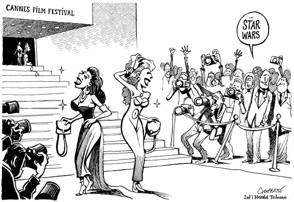 Patrick Chappatte - The International Herald Tribune - Star Wars In Cannes - English - Cannes, France, Festival, Movie, Stars, Star Wars, premier, cinema, movies, film, french