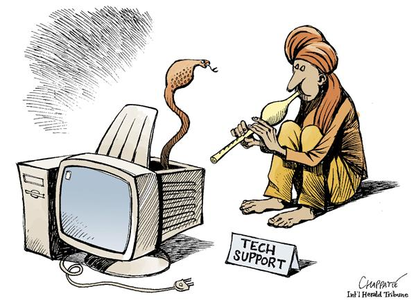 Patrick Chappatte - The International Herald Tribune - Outsourced to India - English - Economy, Outsourcing, India, Computers, Globalization, outsourced, outsourcing, jobs, tech support, foreign, india, job, work, computers, computer, technology