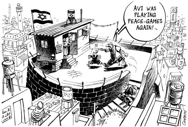 Patrick Chappatte - globecartoon.com - Israeli Settlers - English - Middle East, Israel, Palestine, Gaza, West Bank, Peace, Settlements, play, israli, mideast, mid east, playing, games, palestine, palestinian, palestinians