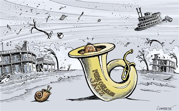 Patrick Chappatte - Le Temps, Switzerland - Hurricane Hits New Orleans - English - USA, New Orleans, Environment, Hurricane, Katrina, Natural disaster, Music, Jazz, LA, louisiana, hide, flood, flooding, tuba, disaster, musician, weather