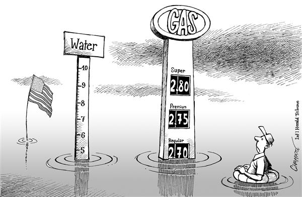 Patrick Chappatte - The International Herald Tribune - Gas Prices After Katrina - English - Hurricane, Katrina, Natural, disaster, Environment, USA, Economy, Gas, Oil prices, gasoline, price, gouging, reserves, cars, car, SUV, SUVs, petrol, flooding, flood, water level