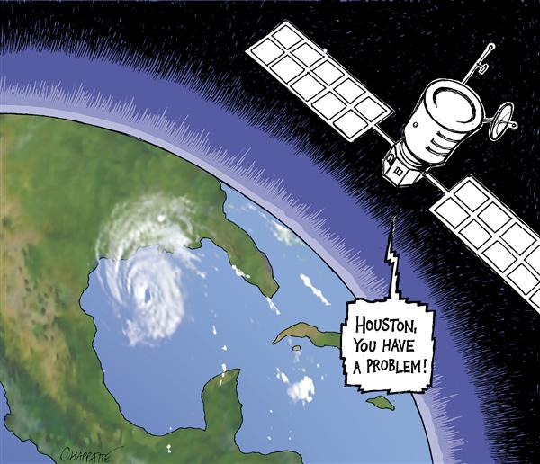 Patrick Chappatte - Le Temps, Switzerland - AND NOW HURRICANE RITA - English - USA, Hurricane, Rita, Katrina, Natural disaster, Environment, Texas, Houston, Space, disaster, satellite, storm, weather, TX, louisiana, mexican gulf, gulf, problem