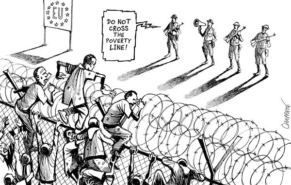 Patrick Chappatte - Le Temps, Switzerland - Migrants assault EU borders - English - European union, Africa, Third world, Poverty, Immigration, Border, poor, migrants, refugees, refugee, african, fence, barbed wire, barrier, assault, EU, europe