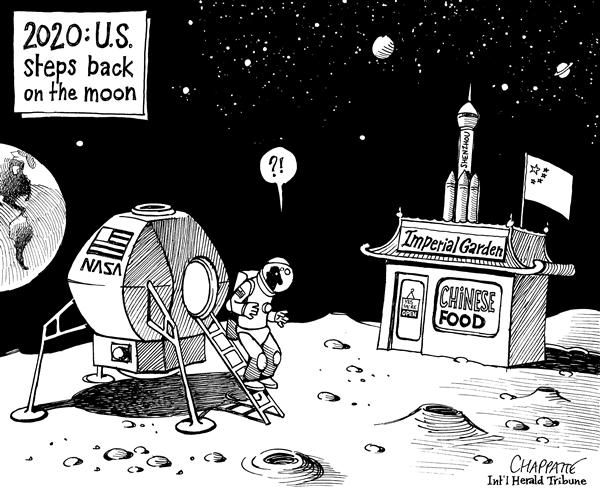 Patrick Chappatte - The International Herald Tribune - CHINESE-U.S. SPACE RACE - English - Space, Moon, USA, China, Asia, Food, astronaut, space race, competition, colonization, colony, NASA