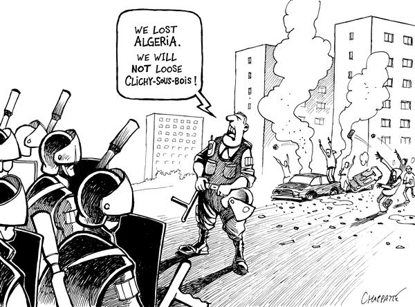 Patrick Chappatte - The International Herald Tribune - FRENCH SUBURBS ON FIRE - English - France, Race, Riots, Demonstration, Police, War, Algeria, Islam, riot, protest, protesting, fire, fires, french, suburbs, subub