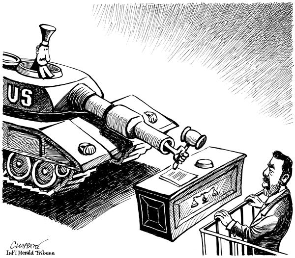 Patrick Chappatte - The International Herald Tribune - SADDAM TRIAL - English - Middle East, Iraq, USA, Saddam, Hussein, Justice, War, against, terrorism, US Army, army, terror, ourts, court, trial, death sentence, death penalty, war criminal, iraqi, tank