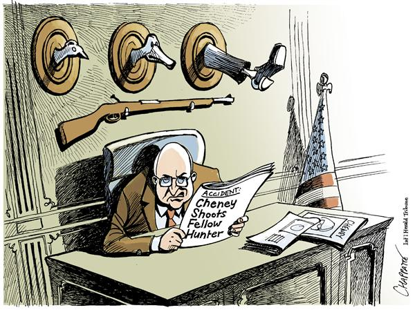 Patrick Chappatte - The International Herald Tribune - CHENEY GOES HUNTING - English - USA, Cheney, Hunting, Birds, duck, ducks, friend, trophy, shotgun, hunt, hunter, accident, accidental
