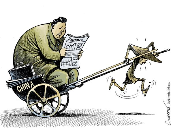 Patrick Chappatte - The International Herald Tribune - CHINA, RICH AND POOR - English - Asia, China, Economy, Money, Poor, Capitalism, Communism, Peasants, poverty, gap, rich, wealthy, trading, stock market, communist, communists, market, trade, chinese
