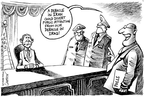 Patrick Chappatte - The International Herald Tribune - WAR ON IRAN ? - English - USA, US Army, War, Terrorism, Middle East, Iran, Iraq, Nuclear, proliferation, debacle, polls, popularity, iranian, army, invade, invasion, quagmire