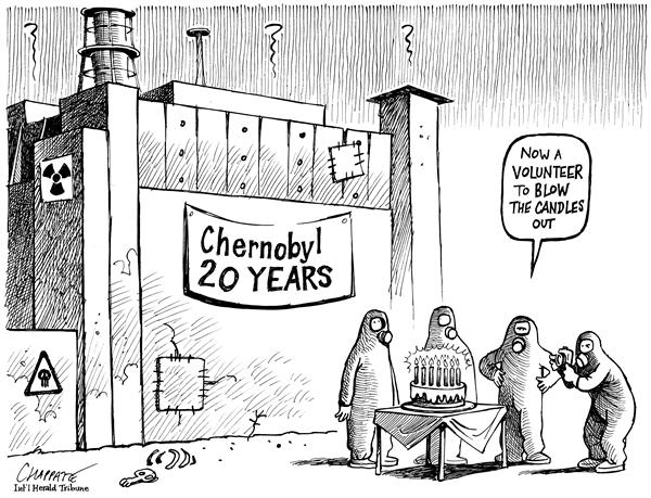 Patrick Chappatte - The International Herald Tribune - CHERNOBYL 20 YEARS AFTER - English - Atom, Nuclear, Energy, Chernobyl, Ukraine, Accident, candles, birthday cake, cake, anniversary, 20 year, 20 years, explosion, atomic