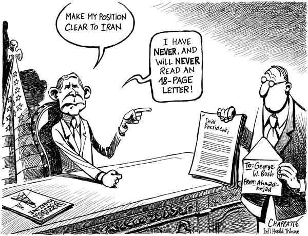 Patrick Chappatte - The International Herald Tribune - IRANIAN WRITES TO BUSH - English - George, W, Bush, USA, Iran, Ahmadinejad, Nuclear, Proliferation, Atom, bomb, Letter, Diplomacy, diplomatic, position, message, atomic, power, nukes
