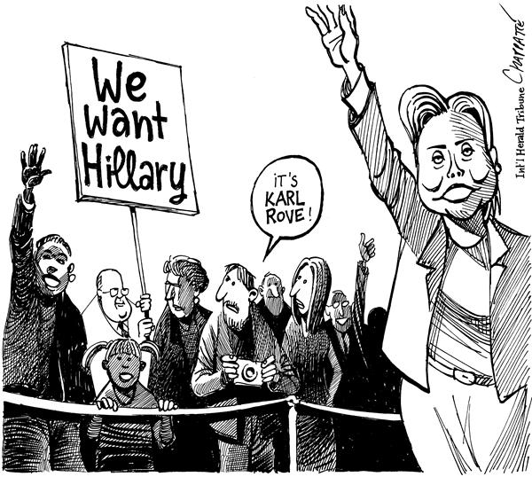 Patrick Chappatte - The International Herald Tribune - HILLARY FOR PRESIDENT - English - USA, US Election, Campaign, 2008, Democratic, dems, democrats, Party, Hillary, Clinton, Karl Rove, rove, clinton, disguise, rally