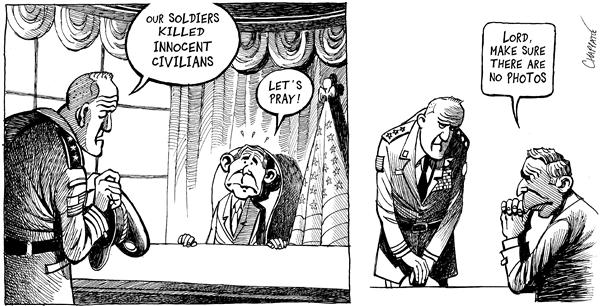 Patrick Chappatte - Le Temps, Switzerland - MASSACRE BY US TROOPS IN IRAQ - English - Middle East, mideast, mid east, Iraq, USA, US Army, armsy, War, against, terror, terrorism, Human rights, Death, George, W, Bush, rights, pray, prayer, civillians, innocent, massacre, photos, pictures, evidence, photographs