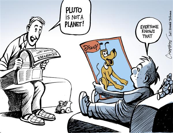 Patrick Chappatte - The International Herald Tribune - PLUTO IS NOT A PLANET - English - Space, Pluto, Planet, Disney, Cartoon, dog, dwarf planet, space, planets, solar sytem, cartoons