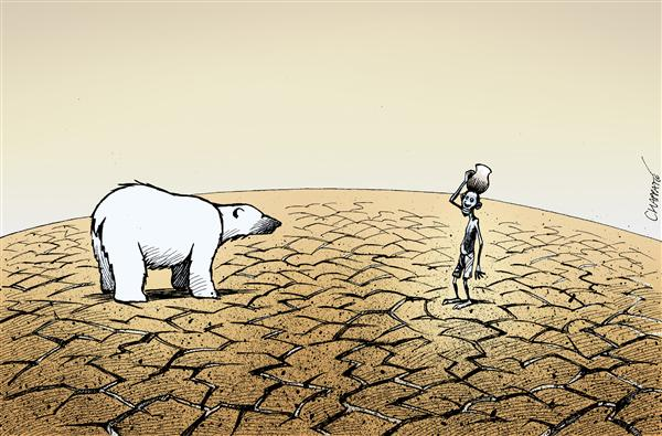 CLIMATE CHANGE © Patrick Chappatte,Le Temps, Switzerland,World, Environment, Global Warming, Climate, Science, Africa, Polar Bear, climate changes, desert, ice caps, ice cap, melting, sea level, environmental, climate change