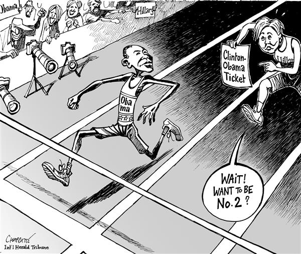 CLINTON-OBAMA Ticket © Patrick Chappatte,The International Herald Tribune,USA,Hillary Clinton,Obama,Presidential Election 2008,Democrats,Sports,Running