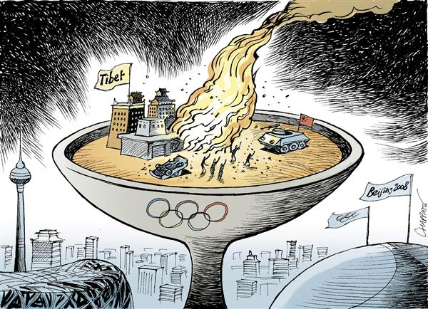 Patrick Chappatte - Le Temps, Switzerland - UNREST IN TIBET - English - Asia,China,Tibet,Demonstrations,Democracy,Human Rights,Religion,Buddhism,Sports,Olympic Games,Beijing 2008