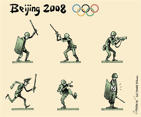 Patrick Chappatte - The International Herald Tribune - OLYMPIC Disciplines - English - Asia,China,Tibet,Democracy,Human Rights,Human Rights,Sports,Olympic Games,Beijing 2008